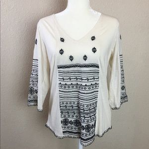 Lucky Brand Ivory & Navy Bohemian Style Top